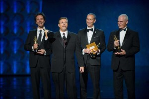 From left: Guillaume Rocheron, Bill Westenhofer, Erik-Jan De Boer and Donald R. Elliott accept the Oscar for achievement in visual effects for their work on Life of Pi.