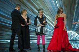 Lisa Westcott and Julie Dartnell accept the Oscar for achievement in makeup for work on Les Misérables.
