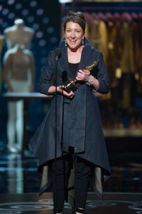 Jacqueline Durran accepting the Oscar for achievement in costume design for work on Anna Karenina.