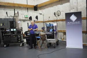 An iPad Mini is key to Edward Moskowitz' sound cart.
