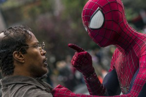 Jamie Foxx (left) and Andrew Garfield as Spider-Man star in Columbia Pictures' The Amazing Spider-Man 2. (Photo by Niko Tavernise. © 2013 Columbia Pictures Industries).