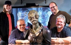 MastersFX's dMFX Team, (from left) Andre Bustanoby, VFX supervisor, Johnathan Banta, Snr VFX supervisor, Cochise, Todd Masters, owner standing and Christopher Brown, VFX producer.