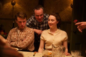 Emory Cohen, Director John Crowley, and Saoirse Ronan on the set