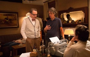 Brian Cranston (left) on the set of Trumbo with director Jay Roach.