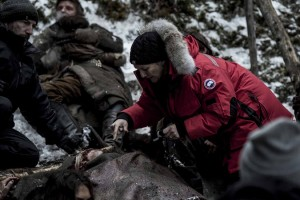 Siân Grigg on the set of The Revenant. TM and © 2014 Twentieth Century Fox Film Corporation. All Rights Reserved. Not for sale or duplication.