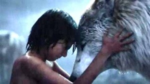 Lupita Nyong'o and Neel Sethi in The Jungle Book (2016)