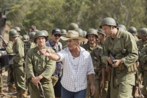 From left to right: Sam Worthington, Director Mel Gibson, and Vince Vaughn on the set of Hacksaw Ridge. Photo Credit: Mark Rogers