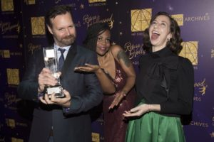 (L-R) Actor Will Forte, Production Designer Hannah Beachler, and Actress Kristen Schaal celebrate at the 21st Annual Art Directors Guild Excellence In Production Design Awards (Photo by Mathew Imaging/WireImage) *** Local Caption *** Will Forete; Hannah Beachler; Kristen Schaal