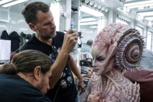 Special Makeup Effects designer Joel Harlow on the set of Star Trek Beyond from Paramount Pictures, Skydance, Bad Robot, Sneaky Shark and Perfect Storm Entertainment