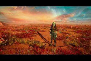 Zoe Saldana as Gamora in Guardians of the Galaxy 2