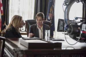 Homeland Season 6 Executive Producer Lesli Linka Glatter speaks with Elizabeth Marvel (as Elizabeth Keane) on the set of Homeland Photo:  JoJo Whilden/SHOWTIME