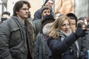 Homeland Season 6 Executive Producer Lesli Linka Glatter (right) and Rupert Friend (as Peter Quinn) on the set of Homeland Photo:  JoJo Whilden/SHOWTIME