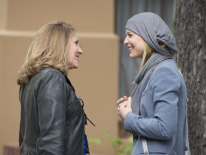 Lesli Linka Glatter, speaks with Claire Danes on the set of Homeland Photo: Stephan Rabold/SHOWTIME
