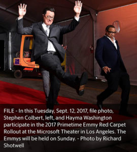 Stephen Colbert and Hayma Washington roll out the red carpet.