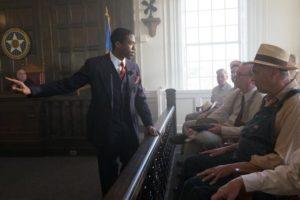 Chadwick Boseman talking to jury.