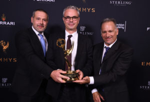 Frank Zeider, from left, Harald Brendel, and Glenn Kennel pose with Engineering Emmy Award for ARRI Alexa Camera System at the 69th Engineering Emmy Awards, presented by the Television Academy at the Loews Hollywood Hotel on Wednesday, Oct. 25, 2017 in Hollywood, Calif. (Photo by Jordan Strauss/Invision for the Television Academy/AP Images)