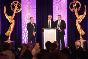 Glenn Kennel, from left, Harald Brendel, and Frank Zeider accept the Engineering Emmy Award for ARRI Alexa Camera System at the 69th Engineering Emmy Awards, presented by the Television Academy at the Loews Hollywood Hotel on Wednesday, Oct. 25, 2017 in Hollywood, Calif. (Photo by Phil Mccarten/Invision for the Television Academy/AP Images)