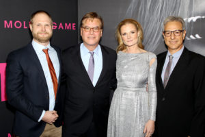 "- New York, NY - 12/13/17 - New York Premiere of STXfilms and The Mark Gordon Company's ""Molly's Game"" -Pictured: Josh Schaeffer (Editor), Aaron Sorkin (Director, Screenwriter), Charlotte Bruus Christensen (Cinematographer), Alan Baumgarten (Editor) -Photo by: Marion Curtis / StarPix -Location: AMC Lincoln Square"