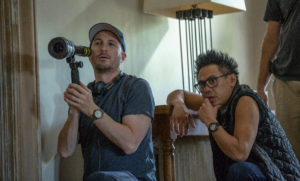 Left to right: Director Darren Aronofsky and Director of Photography Matthew Libatique on the set of mother!, from Paramount Pictures and Protozoa Pictures.