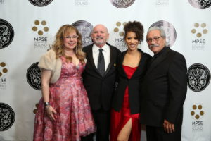 Left to Right - Actress Kirsten Vangsness, MPSE President Tom McCarthy, Actress Jasmin Savoy Brown, and Actor and Producer Edward James Olmos