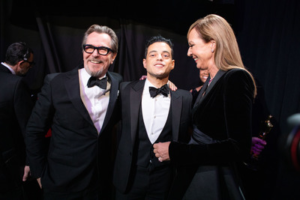 Rami Malek poses backstage with the Oscar® for performance by an actor in a leading role with Gary Oldman (L) and Alison Janney during the live ABC Telecast of The 91st Oscars® at the Dolby® Theatre in Hollywood, CA on Sunday, February 24, 2019. Credit: Matt Sayles / ©A.M.P.A.S.