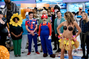 "SUPERSTORE -- ""Costume Competition"" Episode 404 -- Pictured: (l-r) Lauren Ash as Dina, Carla Renata as Janet, Ben Feldman as Jonah, America Ferrera as Amy, Nichole Bloom as Cheyenne -- (Photo by: Eddy Chen/NBC)"