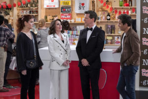 "WILL & GRACE -- ""Jack's Big Gay Wedding"" Episode 218 -- Pictured: (l-r) Debra Messing as Grace Adler, Megan Mullally as Karen Walker, Sean Hayes as Jack McFarland, Eric McCormack as Will Truman -- (Photo by: Chris Haston/NBC/NBCU Photo Bank)"