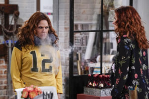 """WILL & GRACE -- """"Family Trip"""" Episode 207 -- Pictured: (l-r) Mary McCormack as Janet Adler, Debra Messing as Grace Adler -- (Photo by: Chris Haston/NBC/NBCU Photo Bank)"""