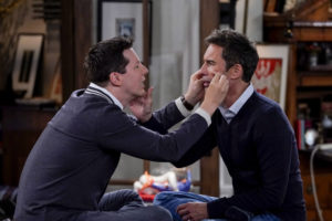 """WILL & GRACE -- """"Family Trip"""" Episode 207 -- Pictured: (l-r) Sean Hayes as Jack McFarland, Eric McCormack as Will Truman -- (Photo by: Chris Haston/NBC/NBCU Photo Bank)"""