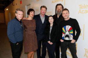 """Cary Elwes, Pollyanna McIntosh, Jake Busey, Angela Kang, Ryan Hurst and Chris Hardwick pose at the membership event, """"Hollywood Horror: Scaring Up an Audience for Television,"""" at the Wolf Theatre at the Saban Media Center at the Television Academy on Tuesday, October 29, 2019, in Los Angeles. (Photo by Danny Moloshok/Invision for The Television Academy/AP Images)"""