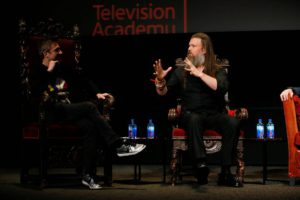 """Chris Hardwick hosts and moderates a special panel of actors, producers, visual effects professionals, editors and composers including Ryan Hurst, right, from """"The Walking Dead"""" in the membership event, """"Hollywood Horror: Scaring Up an Audience for Television,"""" at the Wolf Theatre at the Saban Media Center at the Television Academy on Tuesday, October 29, 2019, in Los Angeles. (Photo by Danny Moloshok/Invision for The Television Academy/AP Images)"""