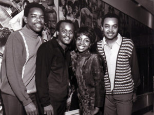 UNSPECIFIED - JANUARY 01: Photo of Gladys KNIGHT & The Pips and Gladys KNIGHT and Edward PATTEN and Bubba KNIGHT and William GUEST; Posed group portrait L-R Bubba Knight, Edward Patten, Gladys Knight and William Guest (Photo by Gilles Petard/Redferns)