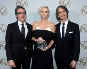 L-R: Stanley Kramer Award Honoree - Bombshell (Charles Randolph, Charlize Theron and Jay Roach)
