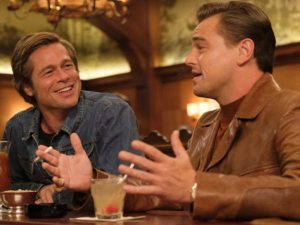 L-R: Brad Pitt and Leonardo DiCaprio on set of Once Upon a Time in Hollywood