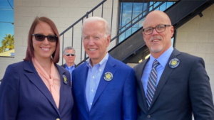 Joe Biden with members of IATSE Local 720 in Las Vegas