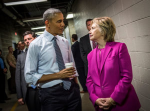 President Barack Obama chats with Hillary backstage following a campaign rally in Charlotte, North Carolina.