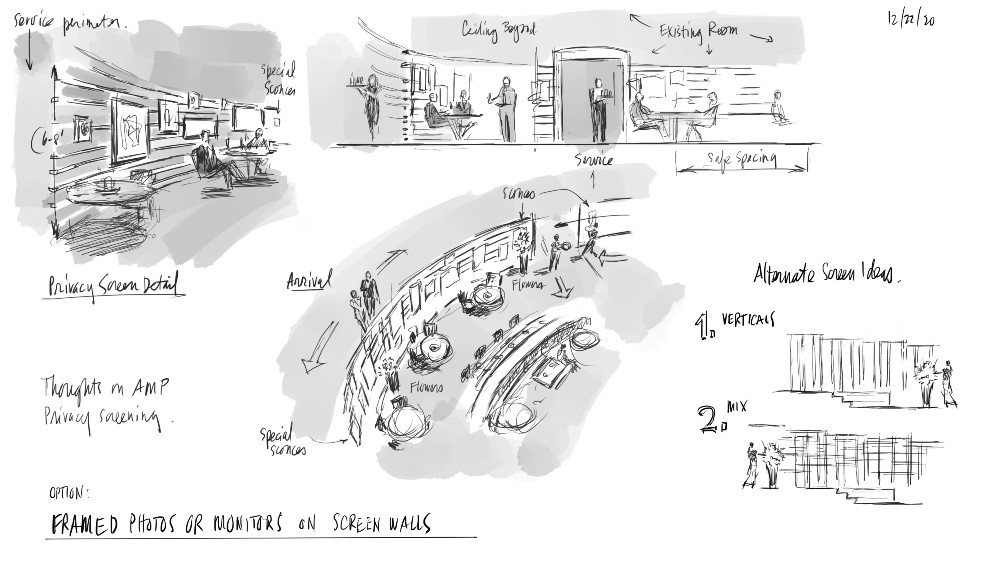 Sketches for seated area (courtesy The Rockwell Group)